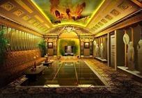 欧式大客厅3D效果图