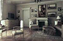 欧式古典风格客厅装饰效果图