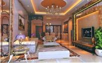 欧式豪华典雅客厅装饰效果图3D模板素材