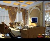 欧式豪华客厅装饰效果图3D模型素材