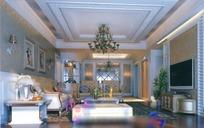 欧式华贵典雅风格客厅装饰效果图