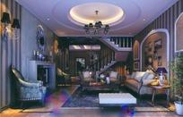 欧式深色豪华客厅3D效果图