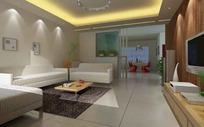 浅色系客厅精装修3D效果图