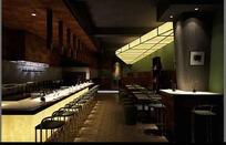 深色系酒吧3D效果图