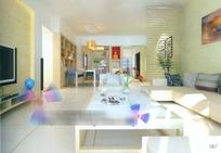 时尚典雅风格客厅装潢效果图3D模板素材
