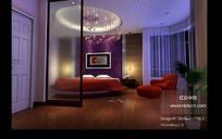 时尚唯美卧室装饰效果图3D模型素材
