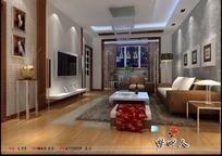 时尚现代客厅装饰效果图3D模型素材
