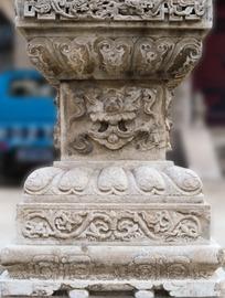 石柱础的回纹缠枝花卉纹龙纹卷草纹莲瓣纹