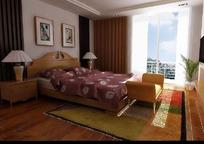温馨暖色调卧室3D效果图