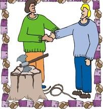 握手的伐木工
