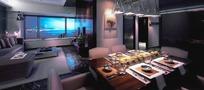 现代沉稳餐厅到客厅装修正面效果图