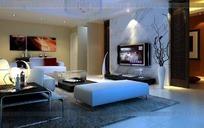 现代大客厅3D效果图