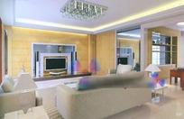 现代简洁素雅客厅3D效果图