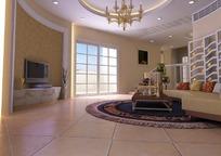现代圆弧形客厅3D效果图