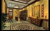 中式佛教客厅设计效果图
