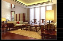 中式古典客厅装饰效果图3D模板素材