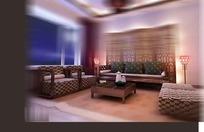 中式深色系客厅3D效果图