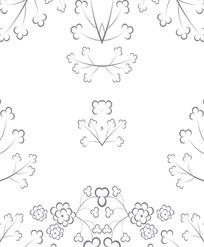 紫灰色三叶草枝花朵对称纹样