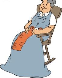 坐在椅子上织围脖的老妇人