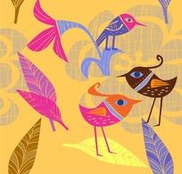 几何卡通小鸟矢量素材