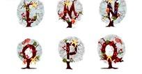 精美字母圣诞树矢量素材3