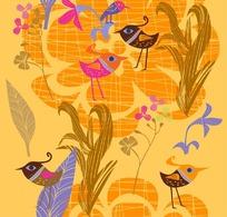 卡通风格小鸟树叶矢量素材