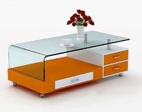 时尚橙色茶几设计模型