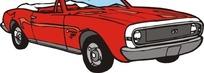 手绘汽车—大红色敞篷车头部