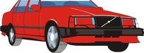 手绘汽车—红色车身的汽车头部