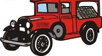 手绘汽车—红色老式汽车头部