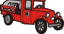 手绘汽车—红色老式汽车头部和侧面