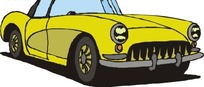 手绘汽车—黄色车身的汽车头部