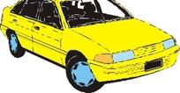 手绘汽车—黄色汽车头部