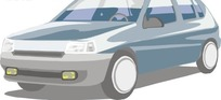 手绘汽车—灰蓝色汽车头部
