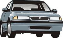 手绘汽车—蓝灰色汽车头部