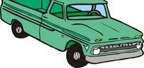 手绘汽车—绿色车身的汽车头部