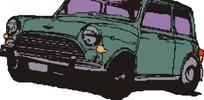 手绘汽车—墨绿色汽车头部