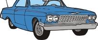 手绘汽车—天蓝色汽车头部