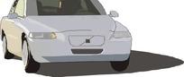 手绘汽车—银灰色汽车头部