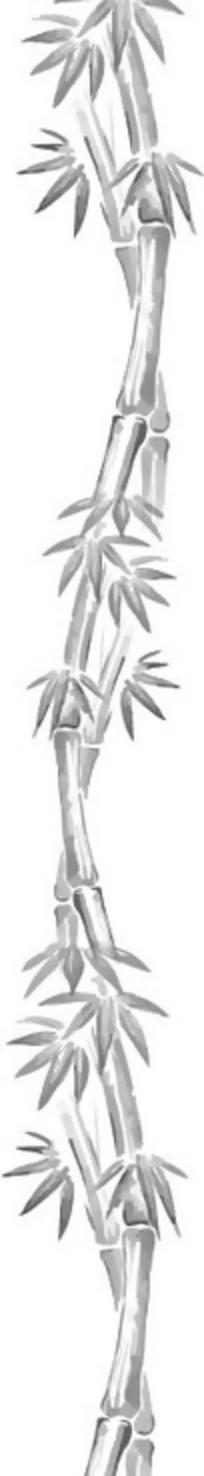 手绘竹子上的竹叶