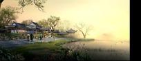 中国古典建筑物和湖面构成的图片