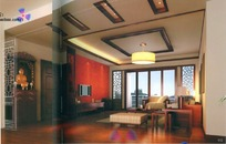中式红色背景墙客厅3D效果图