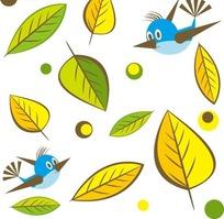 矢量卡通树叶鸟儿插画图形