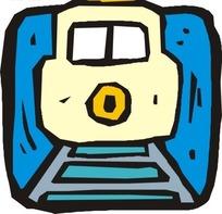 手绘铁轨上的火车头