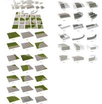 20款路面造型砖及分解3D3D模型图