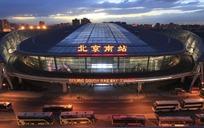 傍晚北京南站俯拍