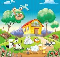房屋草地上的小动物插画