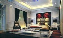 华丽尊贵的主卧室设计3D效果图