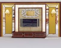 拼贴立体造型电视背景墙3D效果图