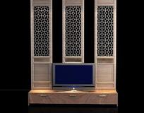 中式门造型电视背景墙设计3D效果图
